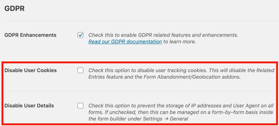 GDPR agreement form settings in WPForms