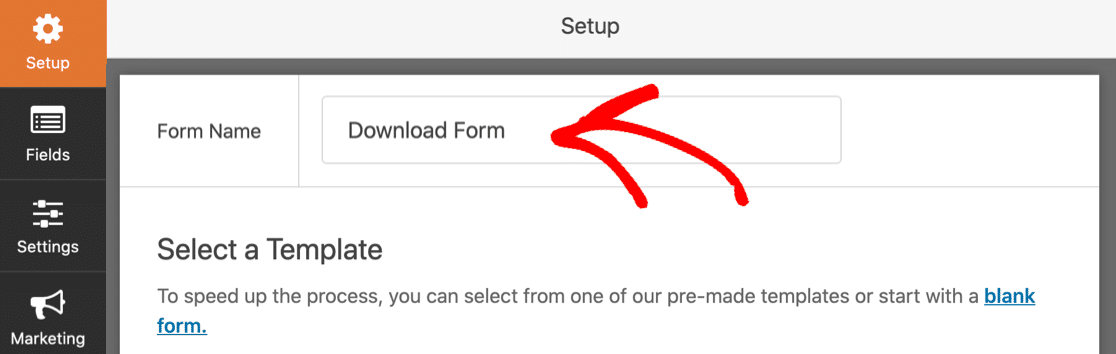 Name your WordPress download form