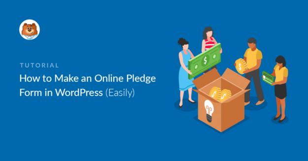 Online pledge form in WordPress