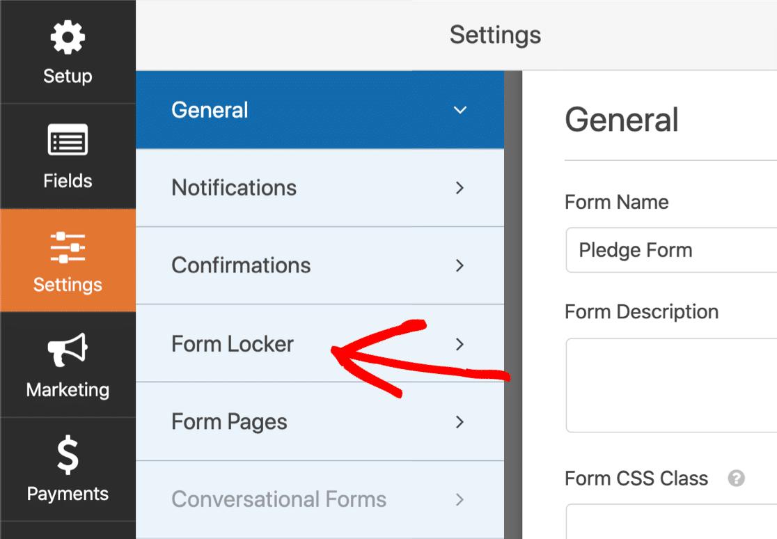 Form Locker settings in WPForms