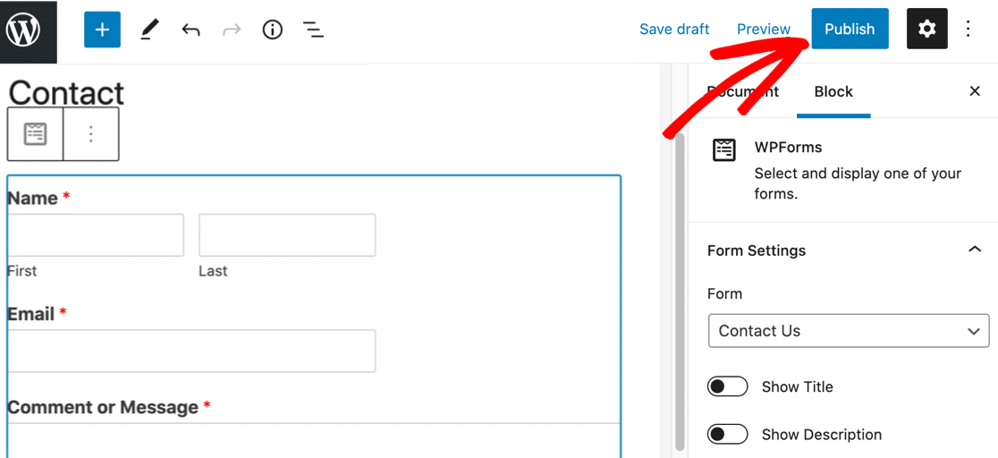 Publish contact page