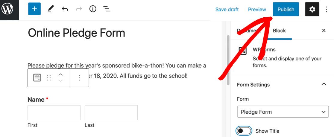 Publish your online pledge form in WordPress