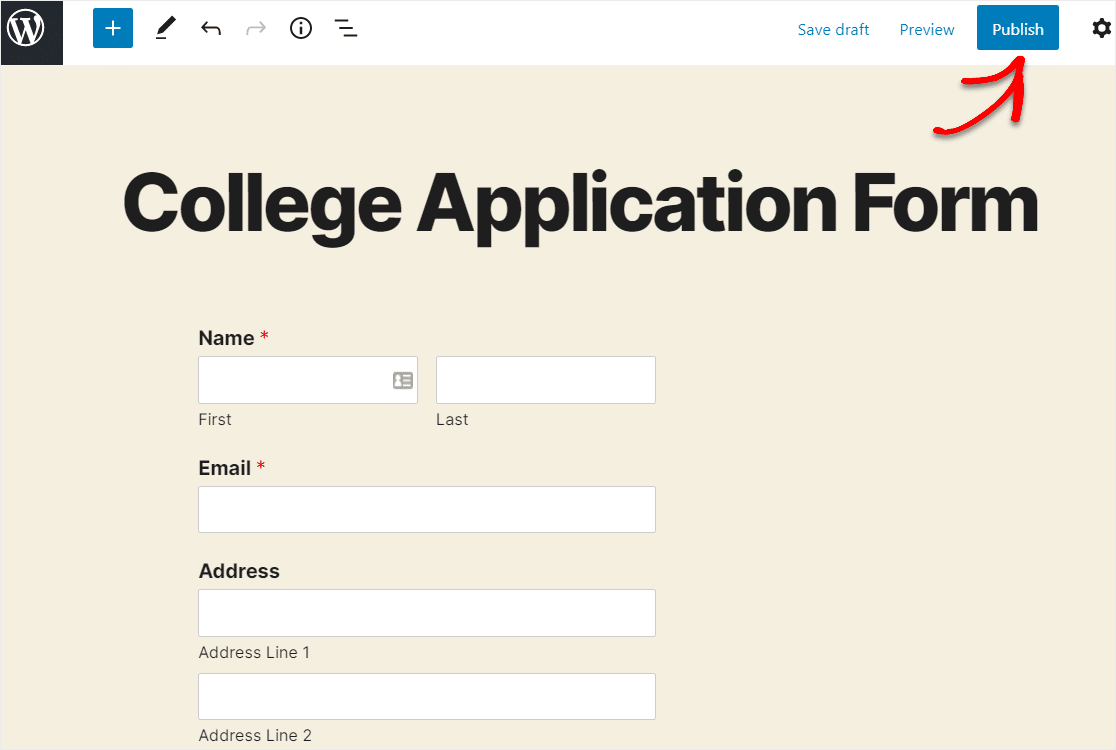 publish page with form