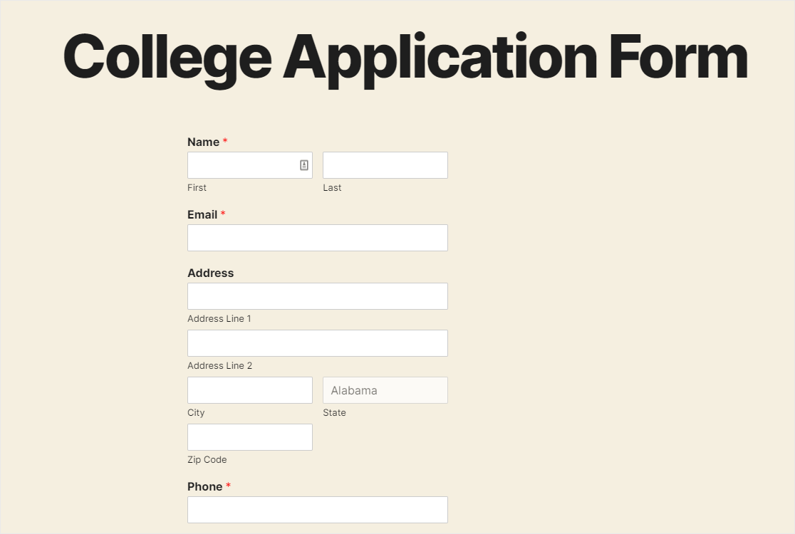 published college application form