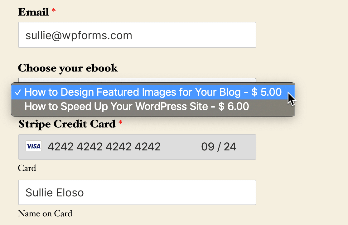 Published WordPress download payment form