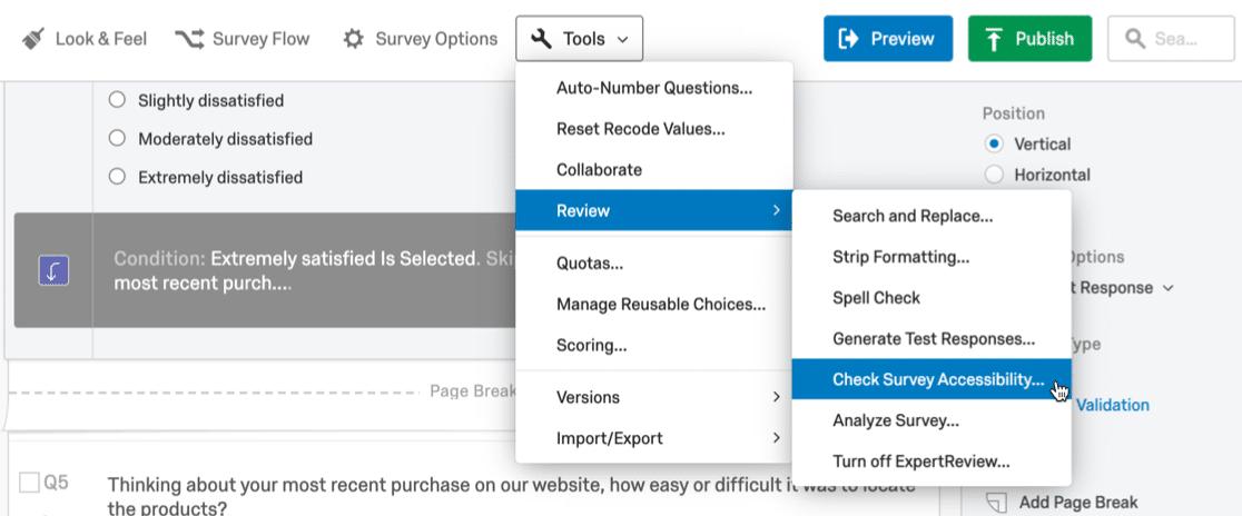 Qualtrics survey options and tools