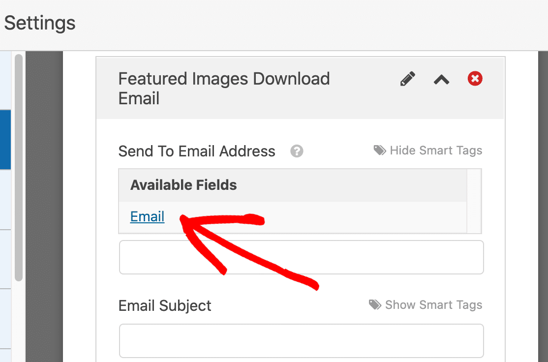 Add smart tag for the email field
