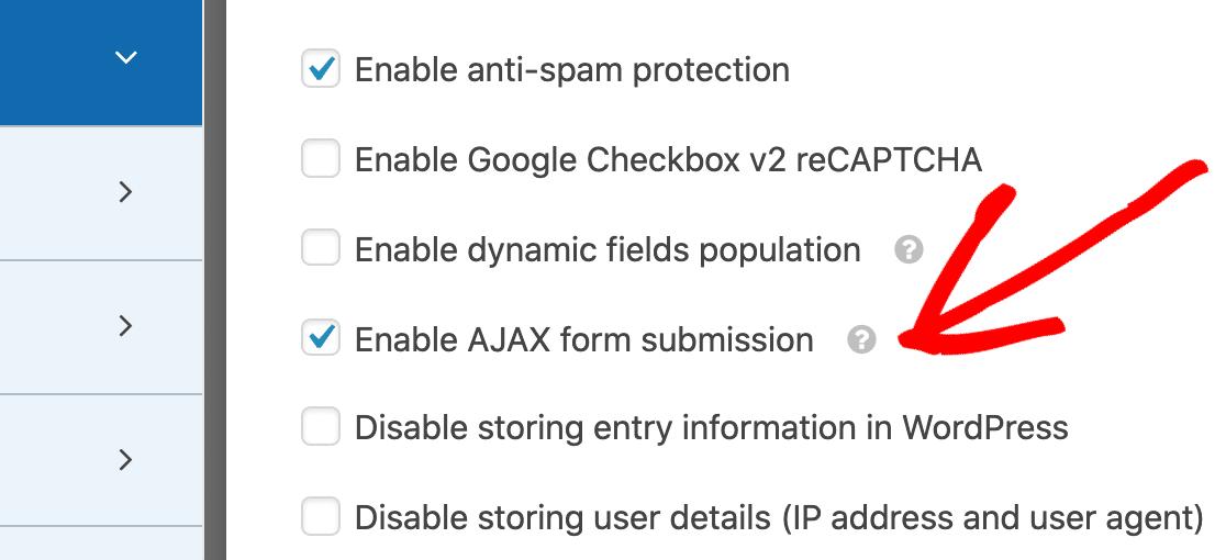 AJAX settings on Stripe form