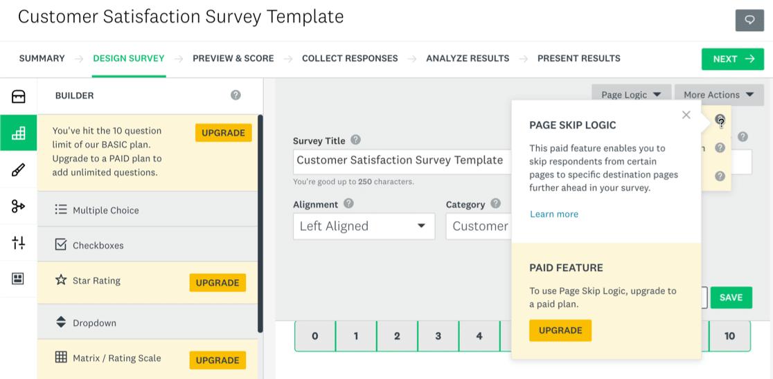 SurveyMonkey free plan