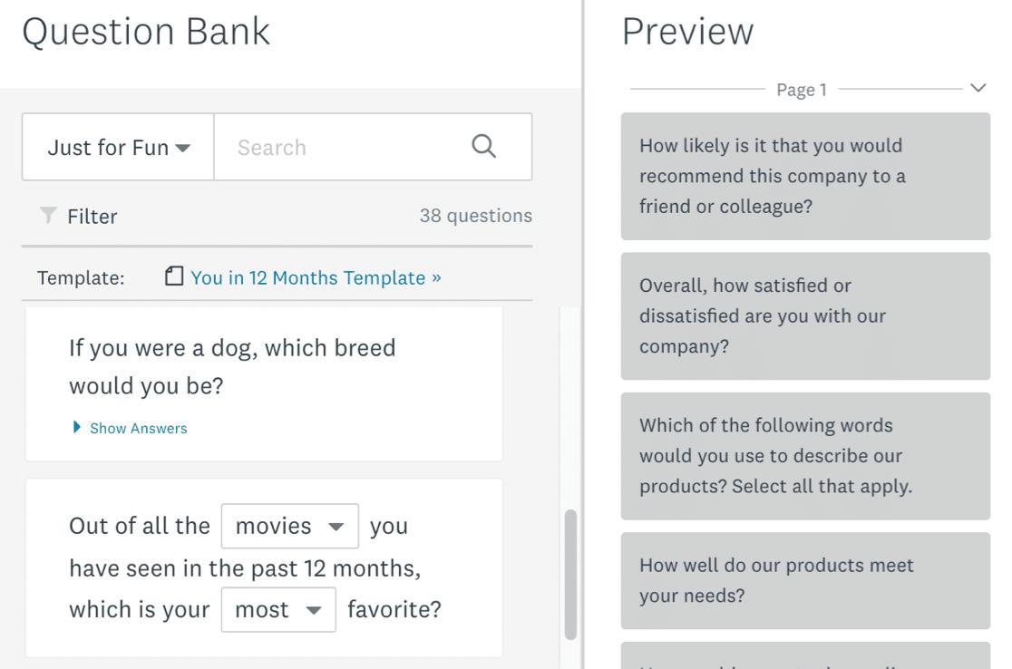 SurveyMonkey question bank