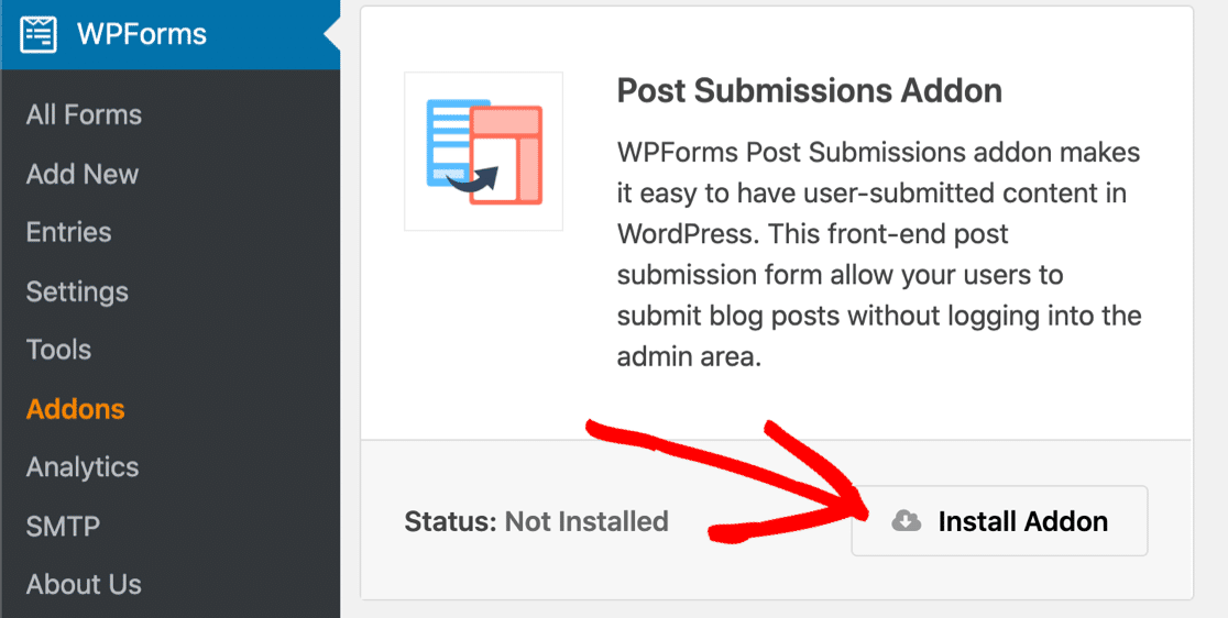 Add the post submissions addon in WordPress