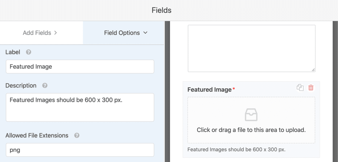 Featured image field on the user submitted post form template