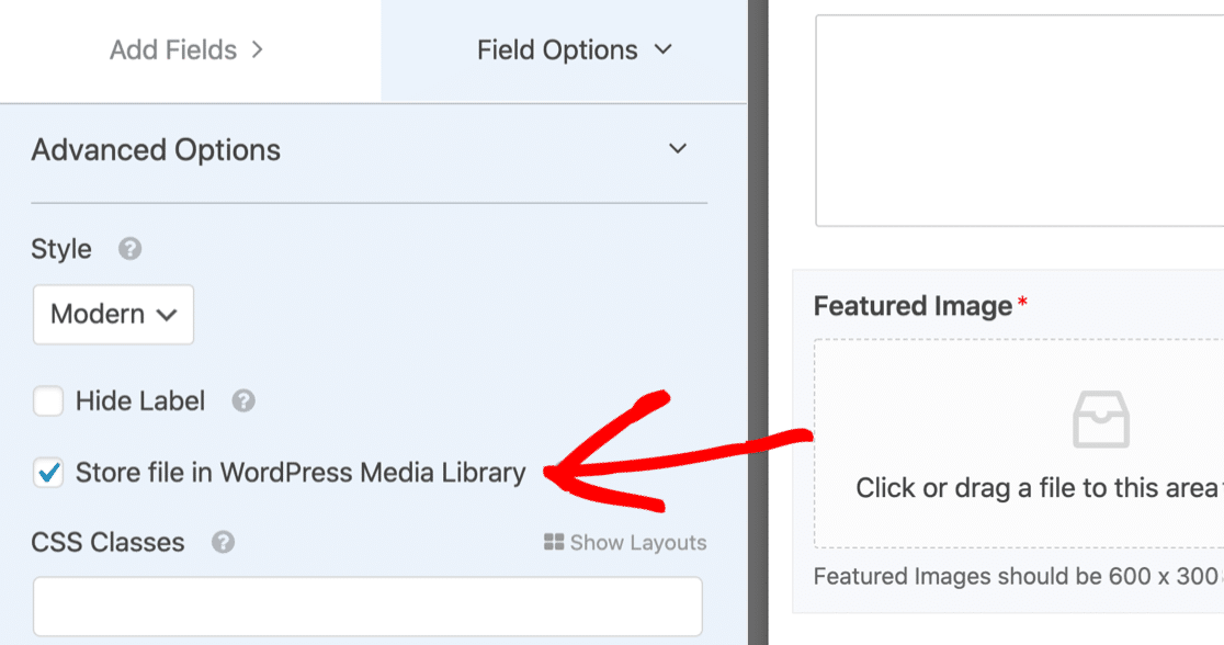 Store featured images in the WordPress media library