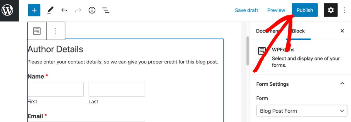 Published user submitted post form in WordPress