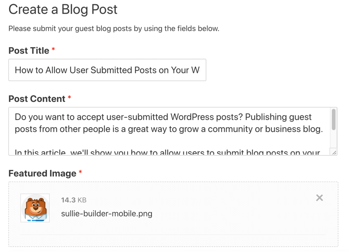 Published form for user submitted content in WordPress