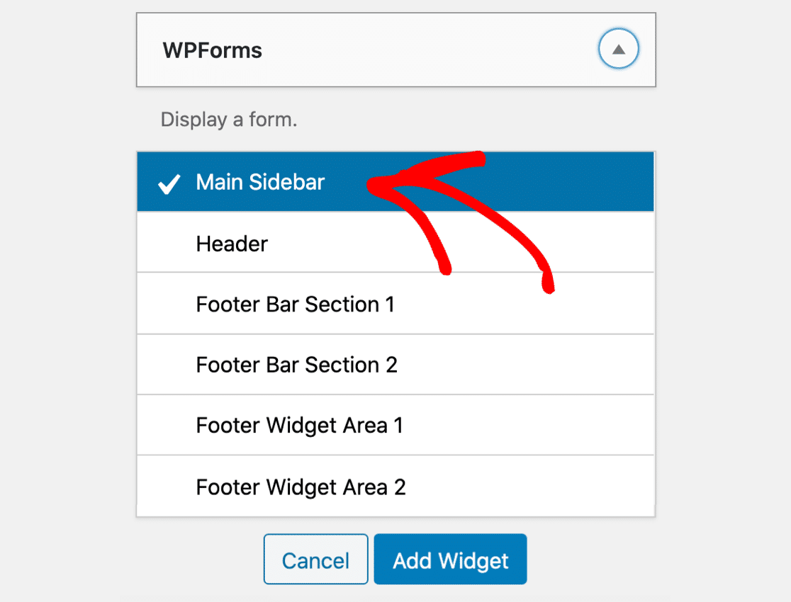 Add WordPress contact form widget to sidebar