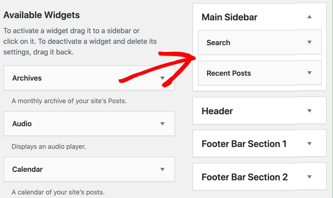 Add WordPress widgets to the sidebar