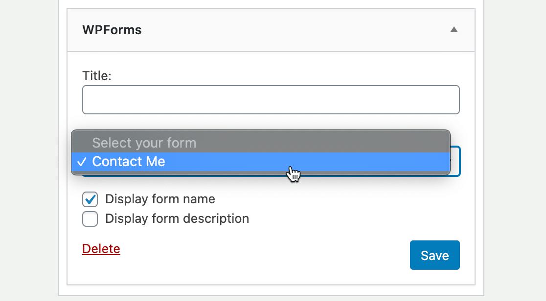 WordPress contact form sidebar widget