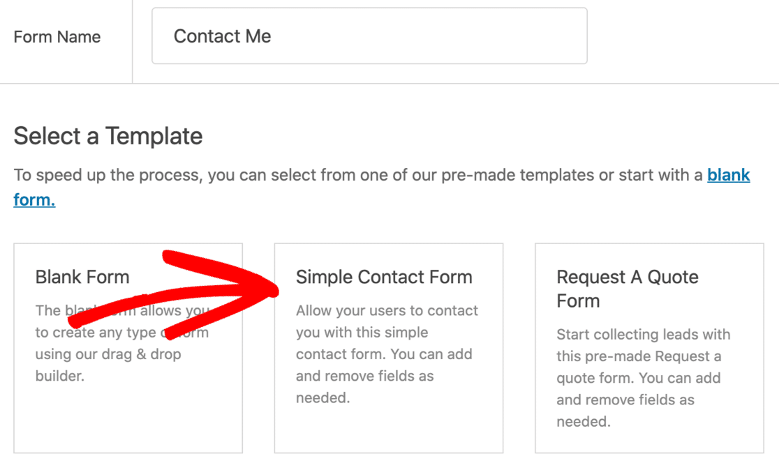 Use a contact form template