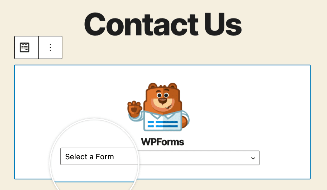Selecting a form from the WPForms block dropdown