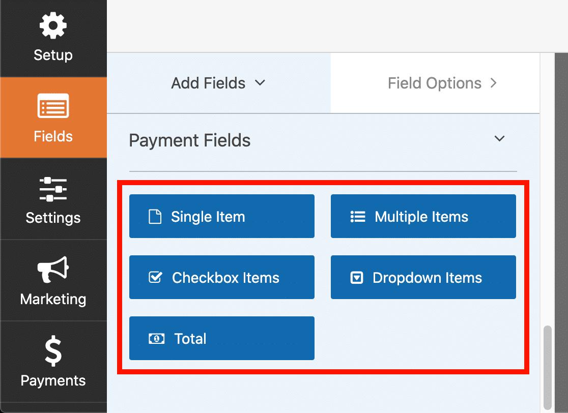 WPForms payment fields