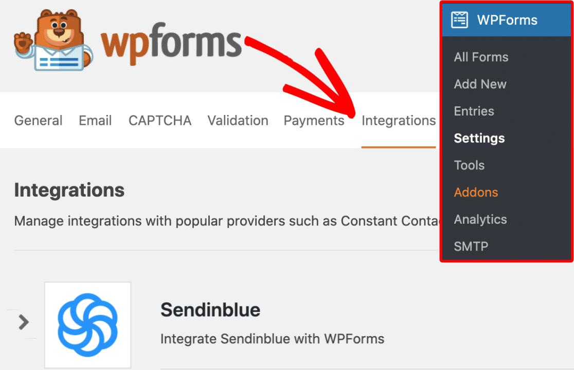 Find Sendinblue On WPForms Integrations Tab