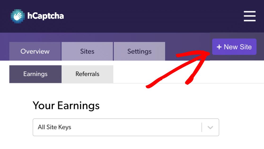 Adding New Site On hCaptcha