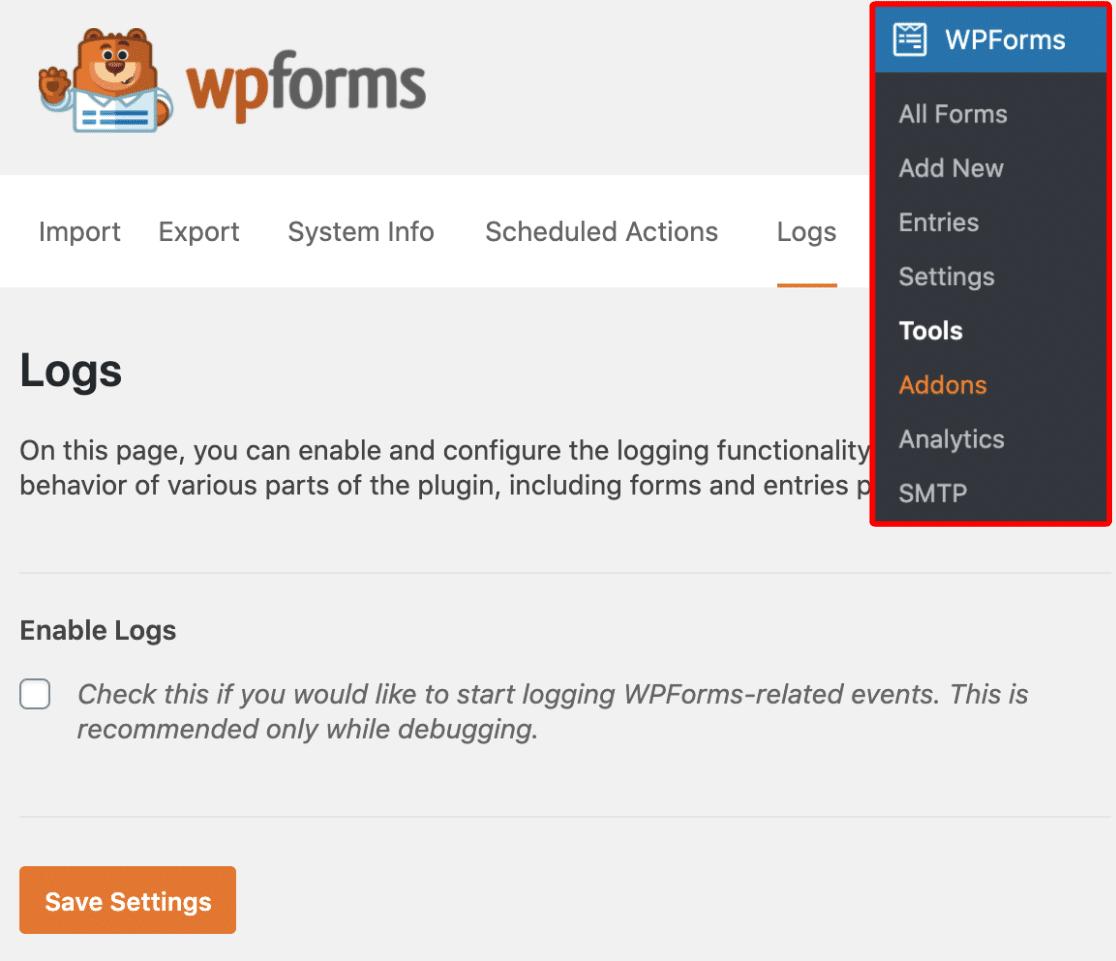 Open Logs Settings in WPForms
