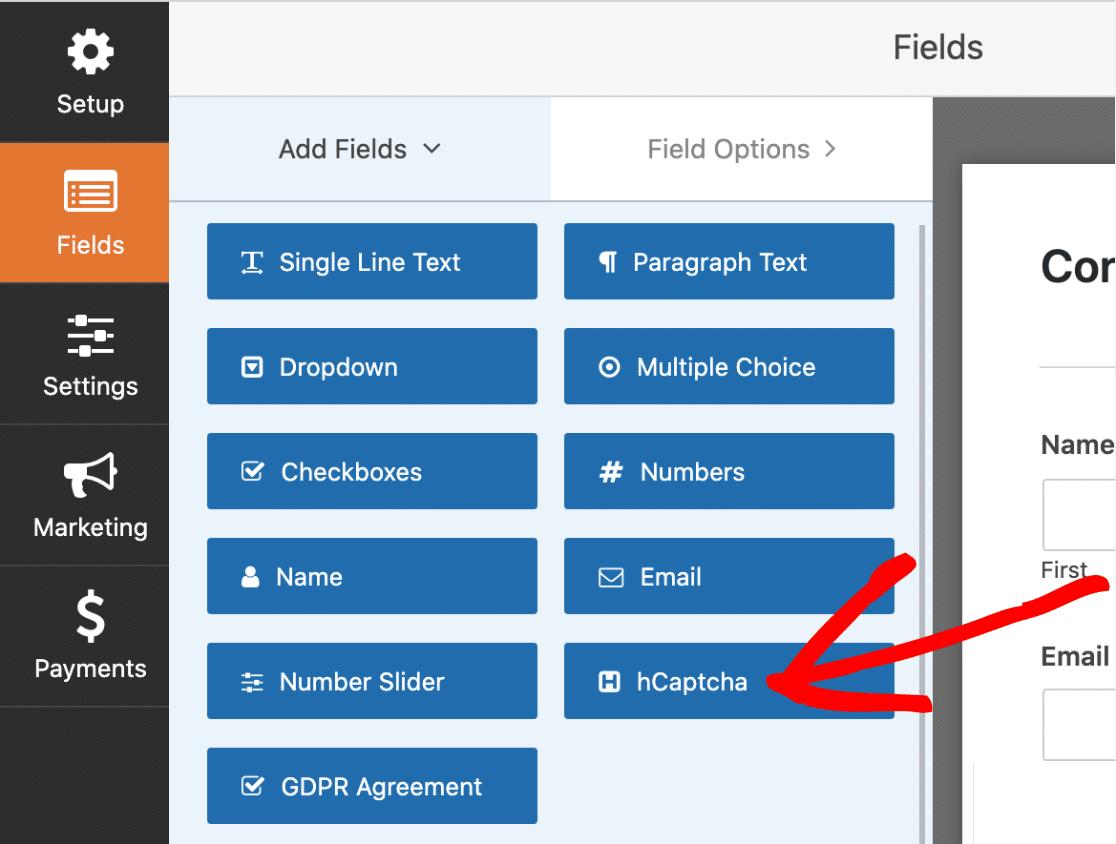 Adding hCaptcha To A Form With WPForms Form Builder