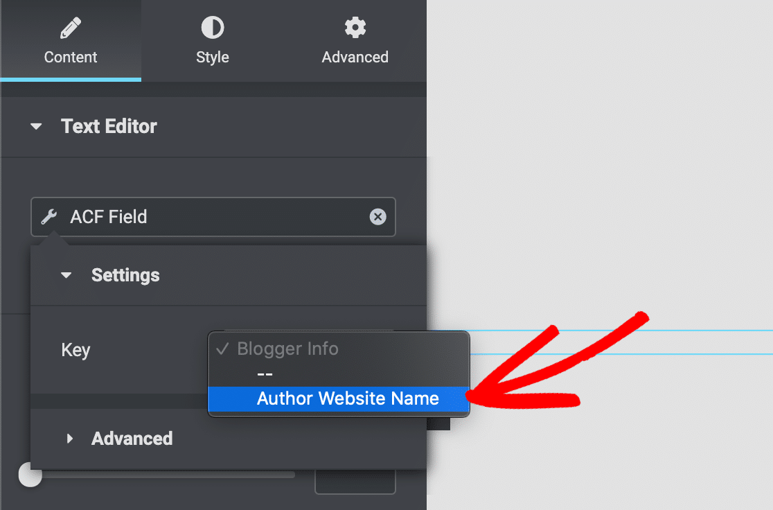 Add an advanced custom field in Elementor