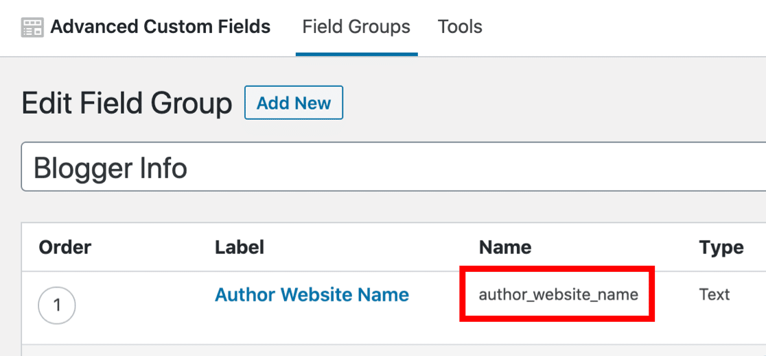 Field name in Advanced Custom Fields