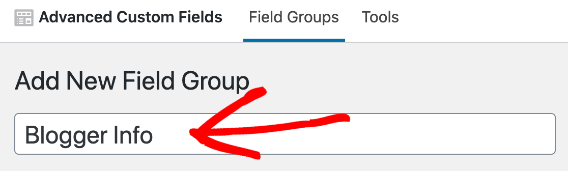 Add new custom field group