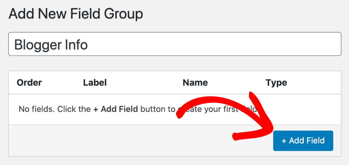 Add new custom field button