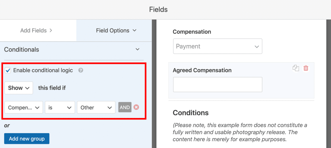 Conditional logic on compensation field