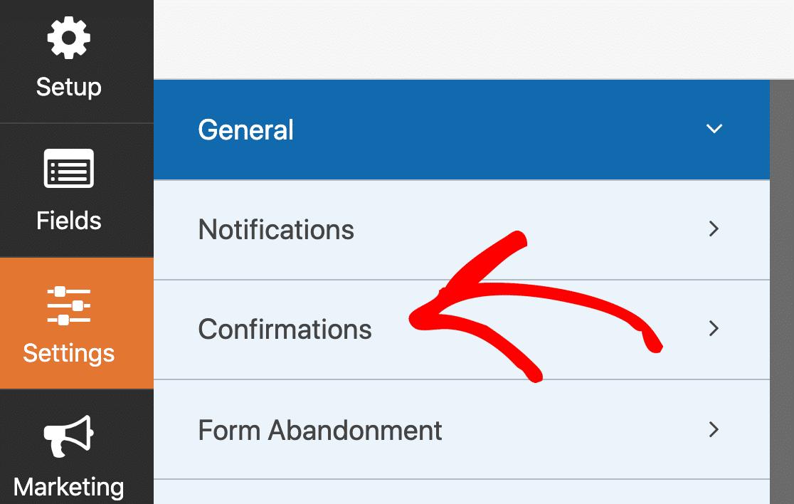 Confirmation settings for custom login form