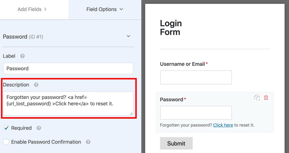 Custom forgot password link