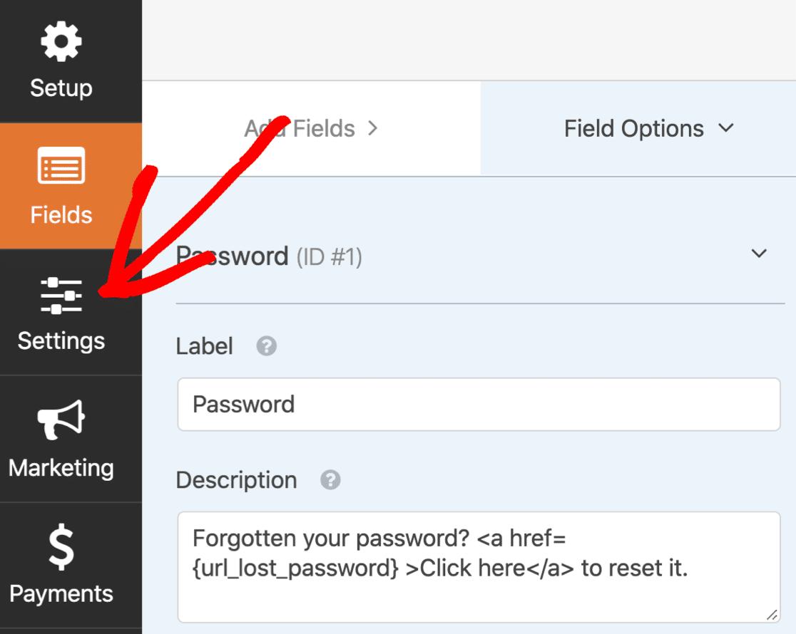Custom login form settings
