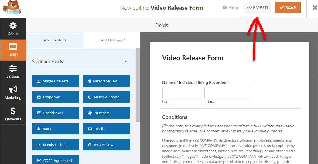 embed your video release form on wordpress