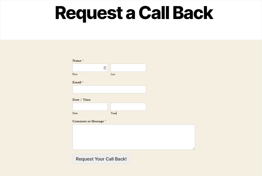 finished request a call back form