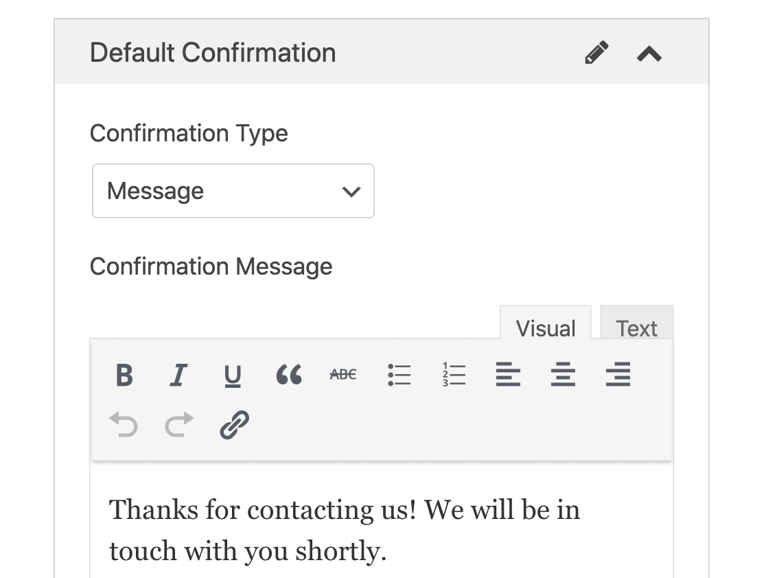 Form confirmation message