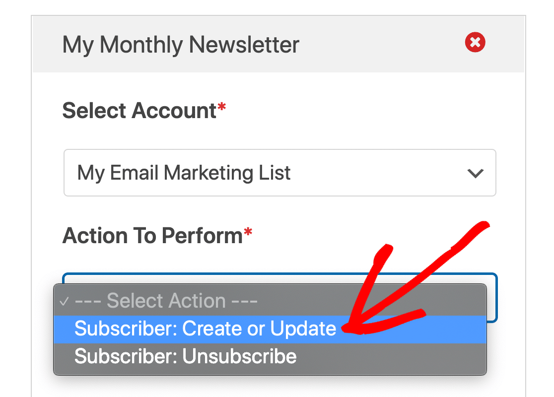 Unsubscribe or create GetResponse subscriber