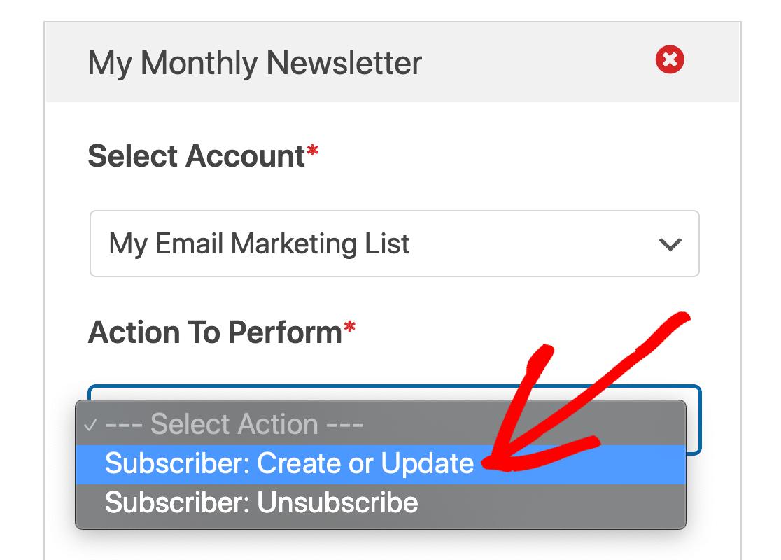 Unsubscribe or create GetResponse subscriber