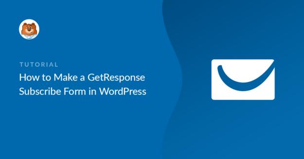 GetResponse WordPress form