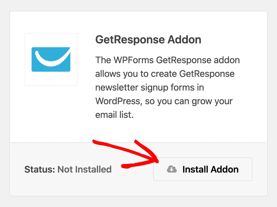 Install the GetResponse addon in WordPress