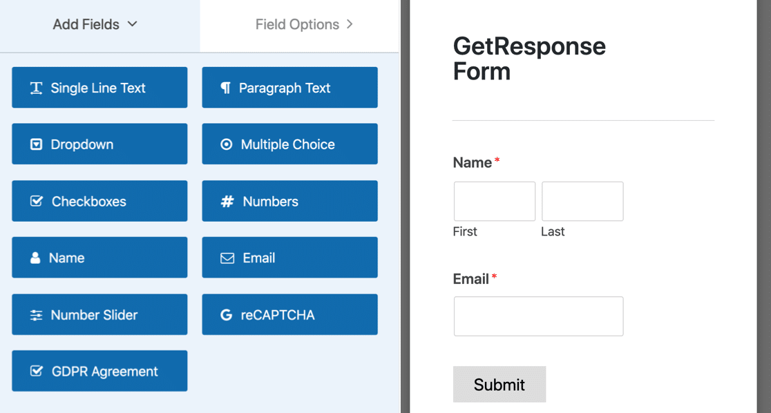 GetResponse form builder
