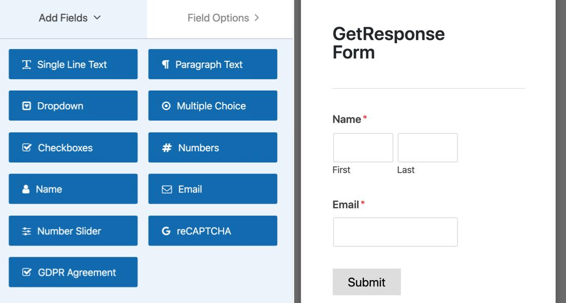 GetResponse form builder