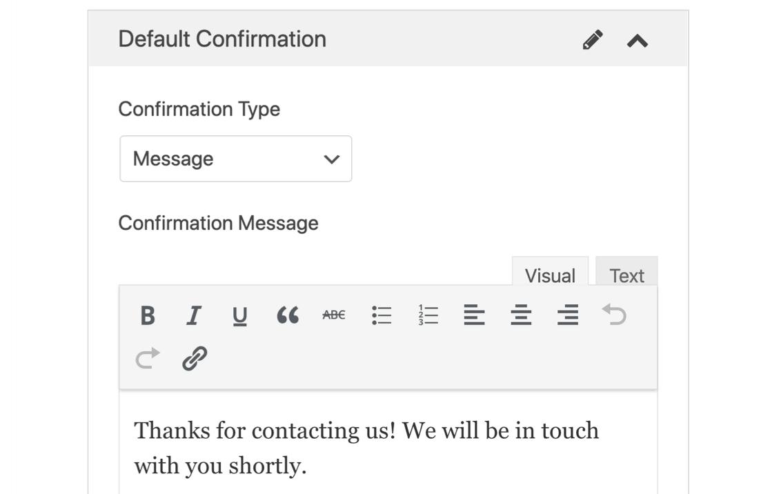 GetResponse WordPress form confirmation