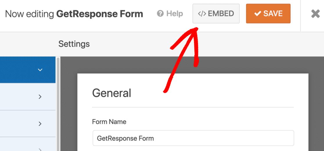 Embed GetResponse WordPress form