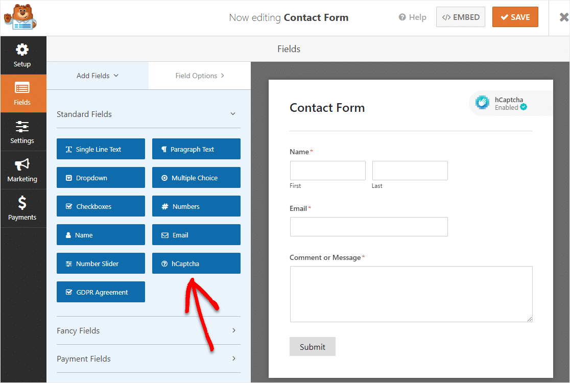 hcaptcha enabled form in wpforms builder