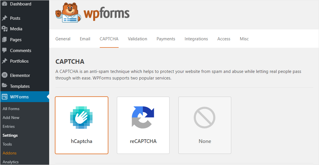 hcaptcha option inside wpforms settings
